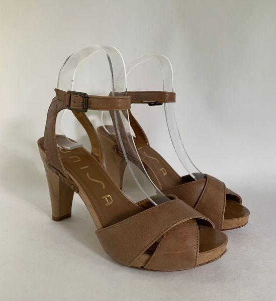 "Unisa Light Brown Leather Sandals Faux Wooden 3.75"" Heel & Platform"