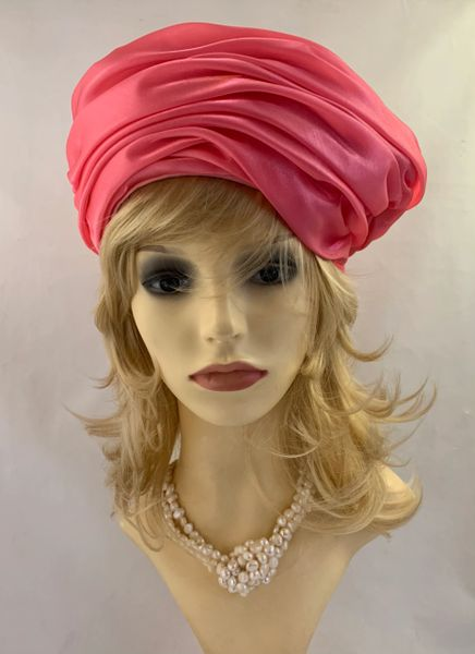 Vintage 1960s Rose Pink Satin Pleated Turban Hat With Rear Pleating Fully Lined