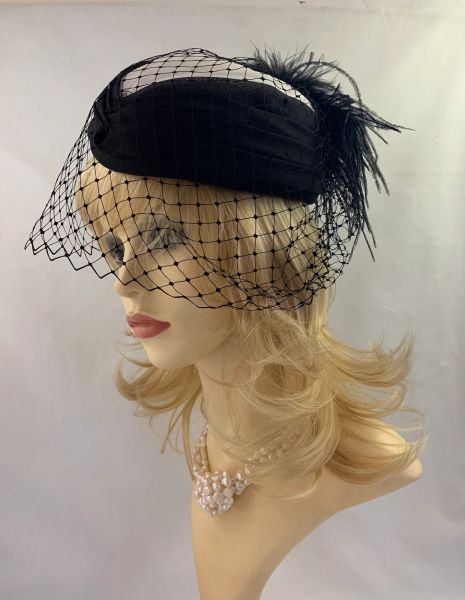 Faye Modes Vintage 1980s Black & White Polyester Pillbox Hat With Net Face Veil And Large Ostrich Plume Detail Fully Lined
