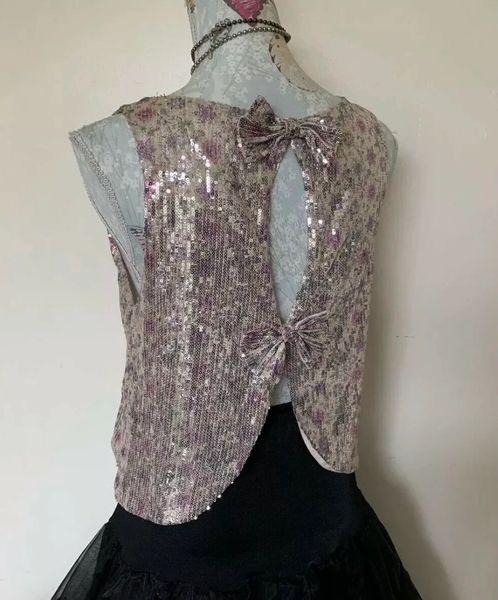 Miss Selfridge Miss Light Pink Sequin Open Bow Back Sleeveless Evening Top UK Size 12