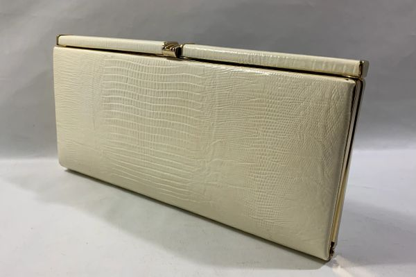 RUBY HANDBAGS Vintage 1970s Ivory Snake Print Leather Clutch Bag Buff Suede Lining