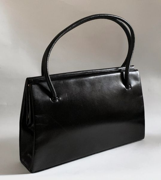 Vintage 1960s Waldybag In Black Calf Leather With Black Satin lining.