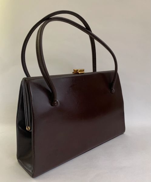WALDYBAG 1950s Vintage Brown Calf Leather Handbag With Buff Suede Lining.