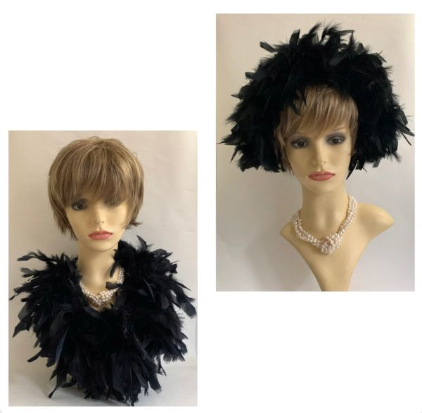 Handmade Upcycled 1950s Style Black Feather Headband Casque Capulet Hat & 43 Inch Feather Boa.