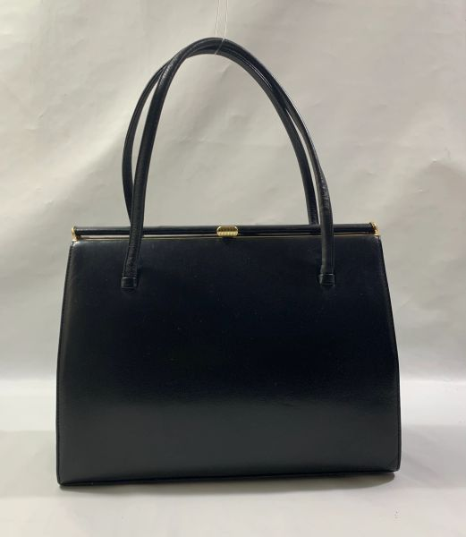 Vintage 1950s Black Faux Leather Handbag With Buff Suede Lining & Elbief Frame