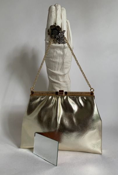 Vintage 1960s Gold Faux Leather Handbag Peach Fabric Lining Mirror Gold Strap