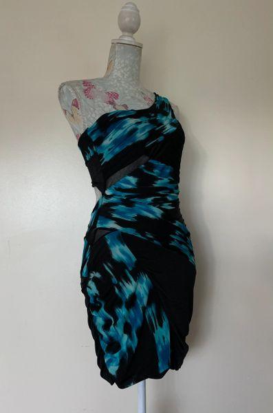 Jane Norman Black & Turquoise Off The Shoulder Slash Back Body Con Dress Uk 12