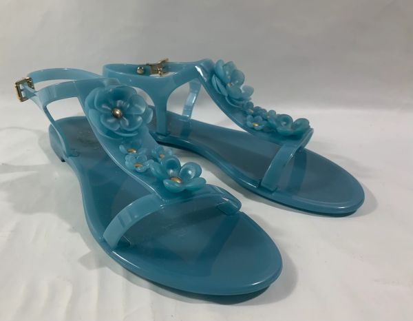 FURLA Candy Baby Blue Floral Jelly Rubber Flat T Bar Sandals Shoes Size UK 5 EU 38