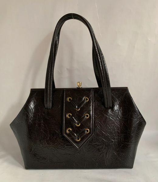 Essell Brownish Black 1960s Faux LeatherVintage Handbag Fabric Lining Elbief Frame