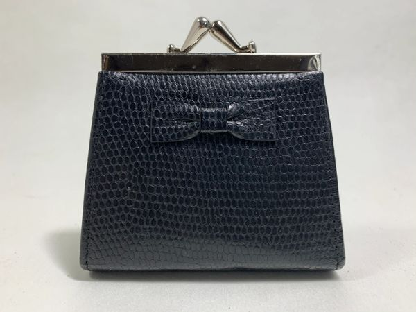 Penhaligon Small Black Faux Lizard Leather Bow Fronted Coin Purse Fabric Lining.
