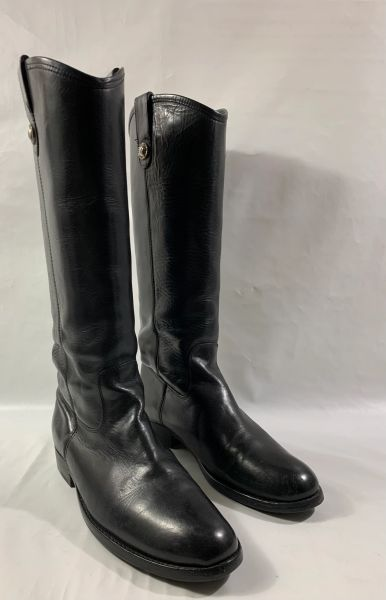 FRYE Black All Leather Round Toe Pull On Flat Heel Riding Style Boots Size UK 5 EU 38