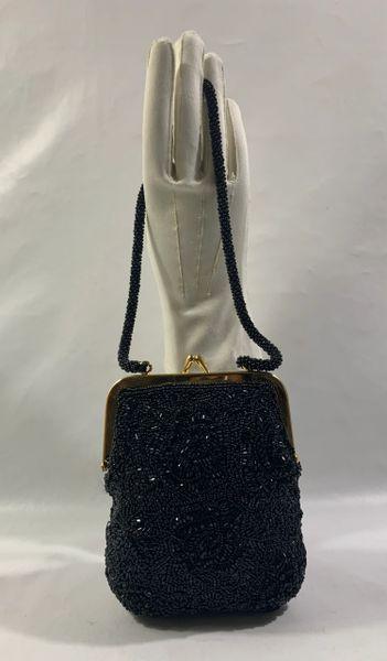 Debenhams Vintage Inspired Black Fully Beaded Handbag Beaded Strap Satin Lining