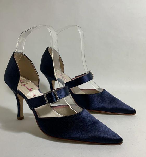 Rainbow Club Blue Satin Mary Jane Pointed Stiletto Diamanté Buckle Wedding Shoes Size UK 3.