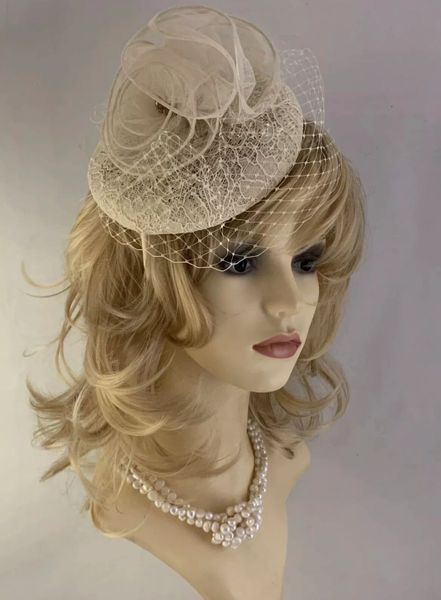 Ivory Lace Fascinator Large Rosette And Net Detail On Fixed Covered Headband.