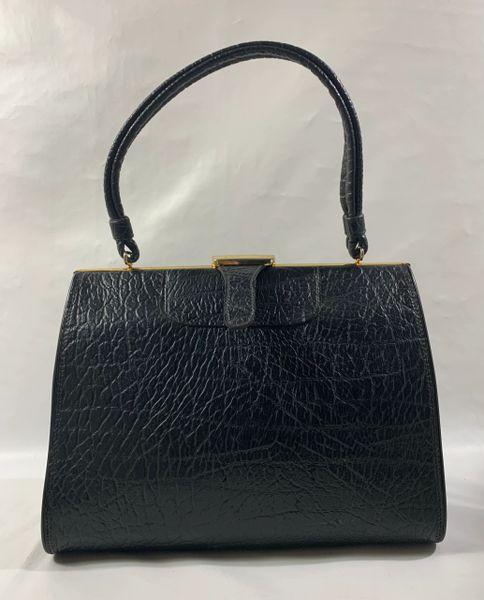 MacLaren Vintage 1960s Black Textured Faux Leather Handbag Black Fabric Lining