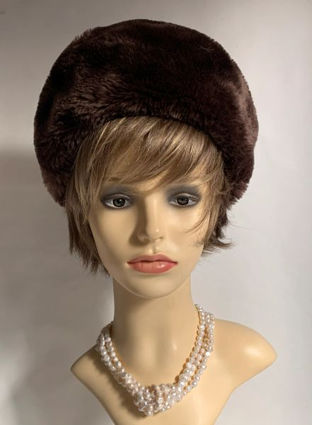 Vintage 1950s Faux Beaver Fur Brown Beret Style Hat With Brown Satin Lining