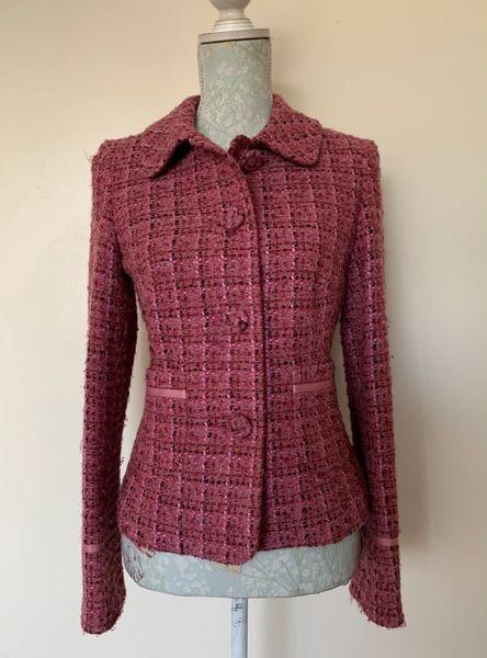 Amanda Marshall Rose Pink Wool Mix Weave Pattern Fully Lined Jacket Size UK 10 .