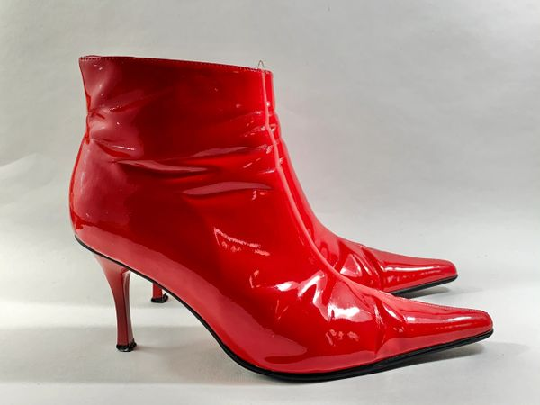 "Odeon Pillar Box Red 3"" Stiletto Heel Ankle Boot Pointed Toe & Original Box Size UK 4 EU 37"