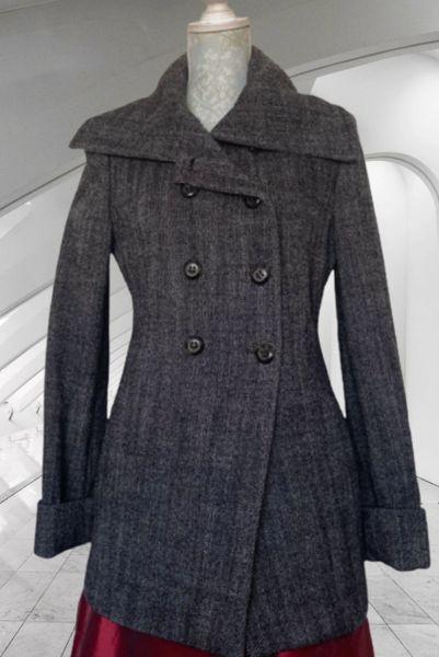 Massimo Dutti Brownish Black Herringbone Full Length Double Breasted Jacket Size 42 (14).