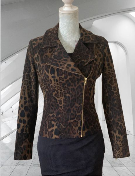 BIBA Black And Brown Animal Print Bikerstyle Zip Front Jacket