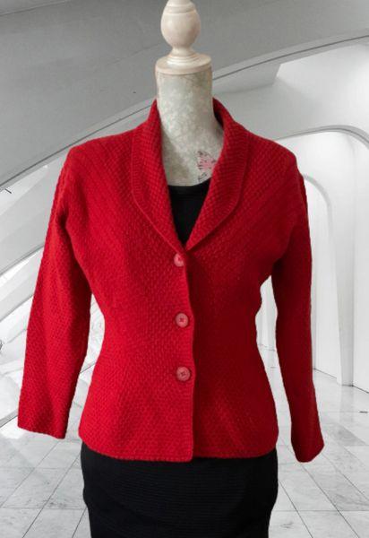 St Michael Red Chunky Moss Stitch Wool Acrylic Knitted Jacket/Cardigan Size UK 10.