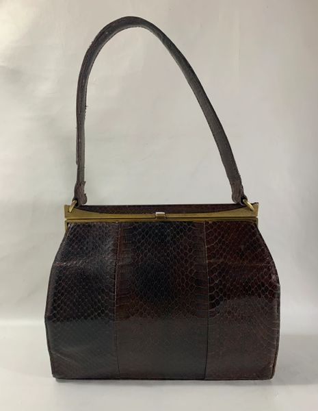 Vintage 1950s Brown Snake Skin Handbag With Brown Satin Lining.
