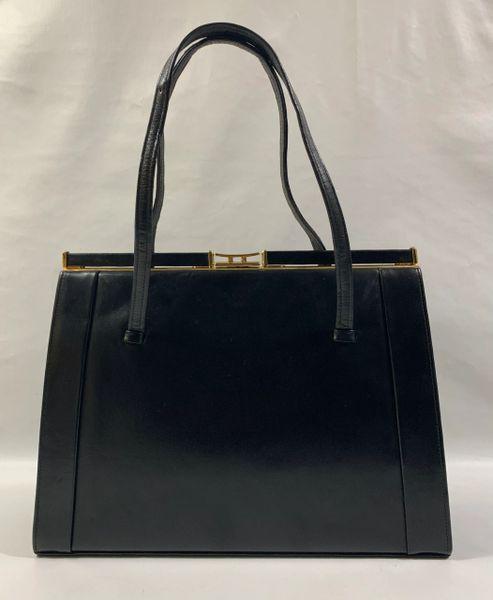 Freedex Vintage 1950s Black Large Leather Handbag With Buff Suede Lining & Elbief Frame