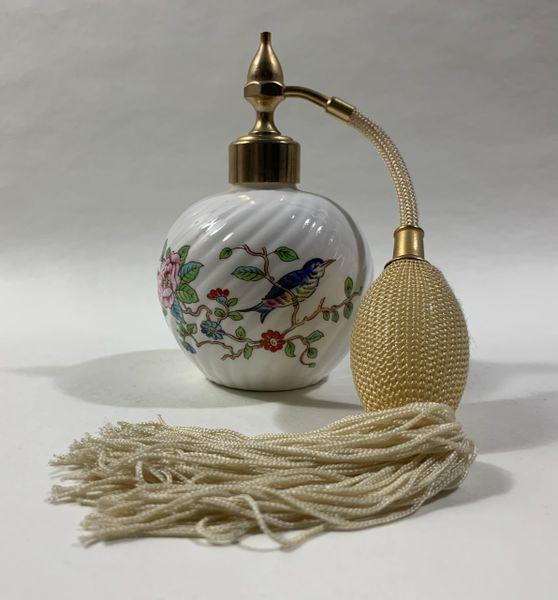 Aynsley Pembroke Swirl Ceramic Floral Perfume Atomiser With Cream Puffer Working