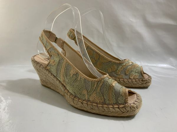 Fabiolas Slingback Peeptoe Wedge Heel Sequin Fabric Sandal Espadrilles UK 5 EU 38