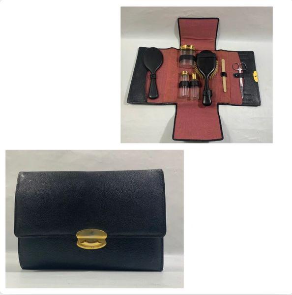 Vintage 1950s Vanity Set Black Leather Case With Ebony Brush & Mirror Cologne Bottles, Scissors, Black Plastic Comb And Nail File