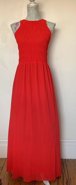 Michael Kors Long Coral Reef Elasticated Bodice Sleeveless Dress With Thin Lining.Size XS (10)