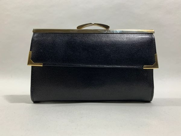 Vintage 1960s Black Purse Wallet Textured Leather Black Leather & Suede Lining