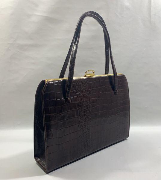 Dark Brown Faux Leather Moc Croc 1950s Vintage Handbag With Brown Satin Lining