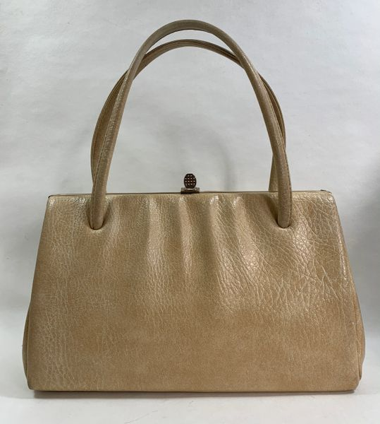 Well Loved Unbranded Vintage 1960s Beige Textured Faux Leather Handbag Brown Fabric Lining