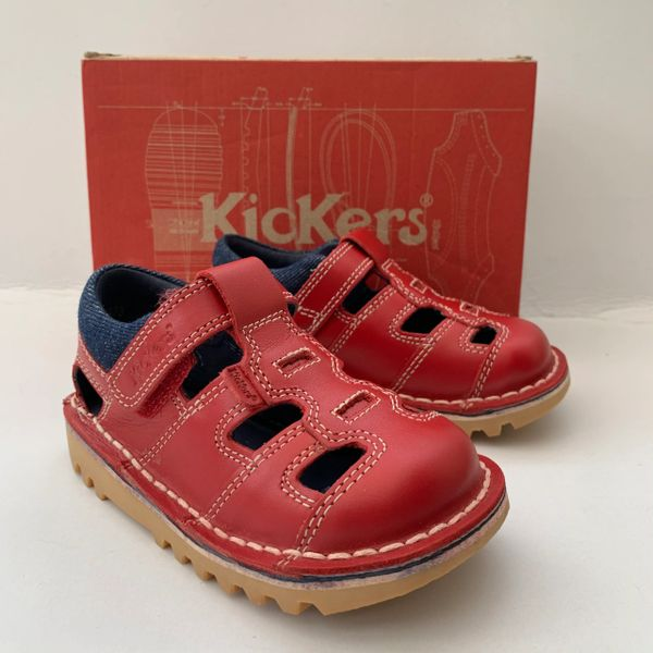 Kickers Kick Sundal Red Leather Blue Trim Infant Childs Shoe Sandal Size UK 7.5 EU 25
