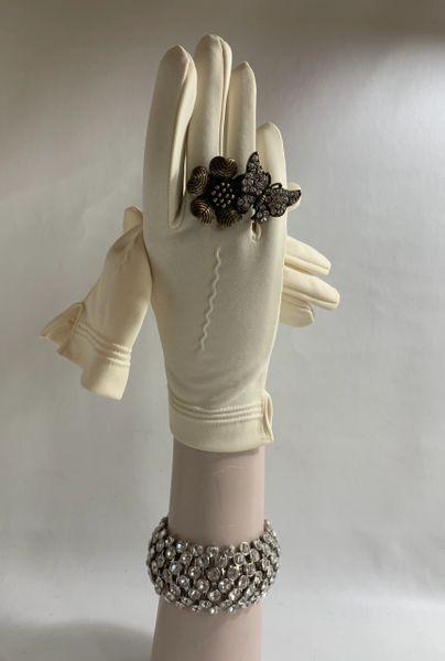 "Vintage 1960s Ivory Nylon Simplex Stretch Fabric Dress Gloves 8.25"" Size 7"