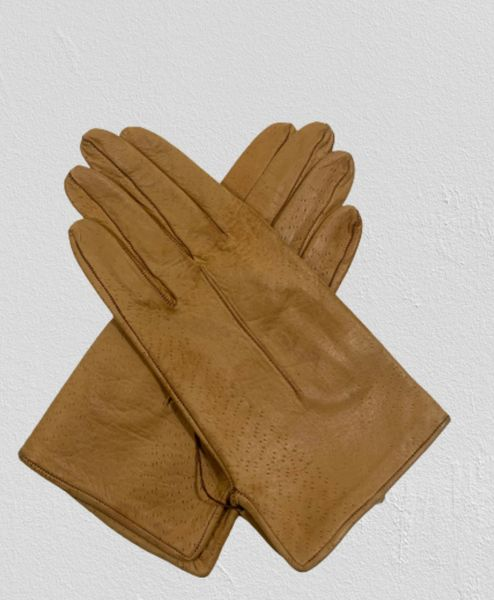 Vintage Gloves Vintage 1950s Chamois Soft Leather Fabric Lined Formal Evening Occasional Dress Gloves