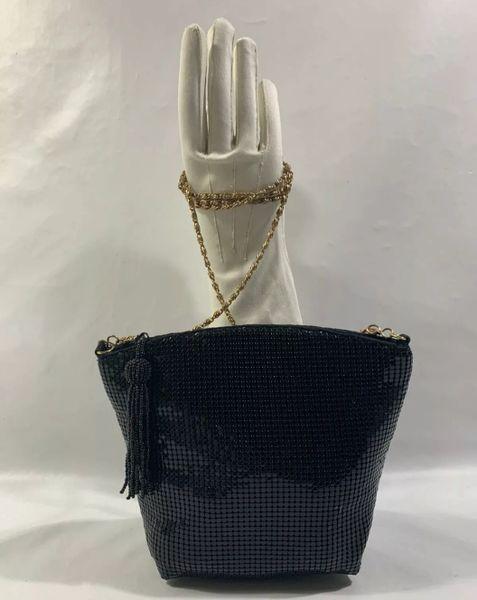 Debenhams Vintage Inspired Black Glomesh Shoulder Bag Gold Tone Strap & Zip Tassel