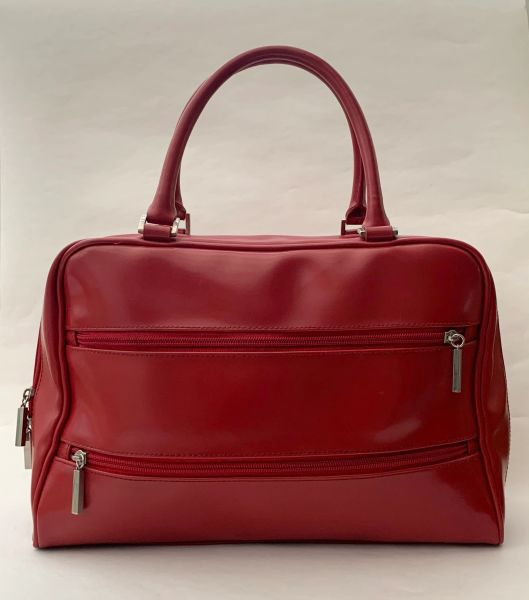Unbranded Vintage 1990s Large Red Shopper Tote Handbag With Red Satin Lining.