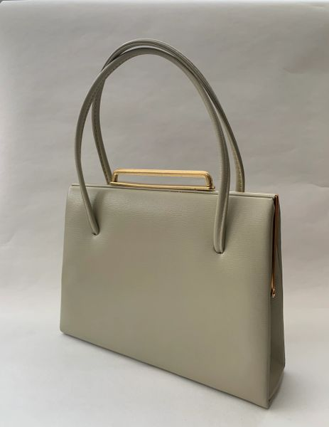 Vintage 1950s Beige Leather Handbag With Buff Suede Lining And Elbief Frame