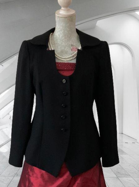 Pallant London Black 100% Wool Long Sleeve Open Neck With Collar Jacket Size 12
