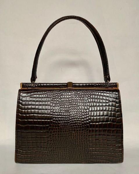 Vintage Dark Brown Moc Croc 1950s Handbag Brown Fabric Lining And Elbief Frame