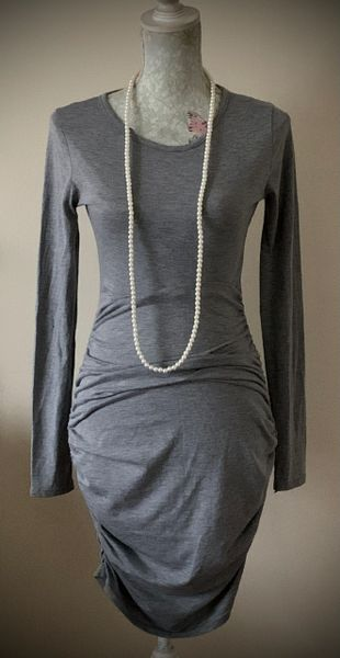 Misguided Long Sleeve Knee Length Marl Grey Body Con Side Ruched Dress Size 10