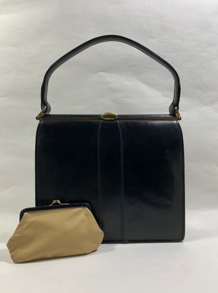 Vintage 1940s Black Leather Handbag With Buff Leather Lining & Matching Buff Leather Coin Purse