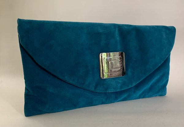 Wallis Turquoise Suede Leather Envelope Clutch Bag With Black Fabric Lining .