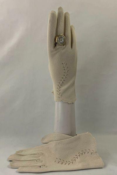 GLODIX 1960s Vintage Gloves Nylon Ivory Gloves Church Wedding Evening Size 7