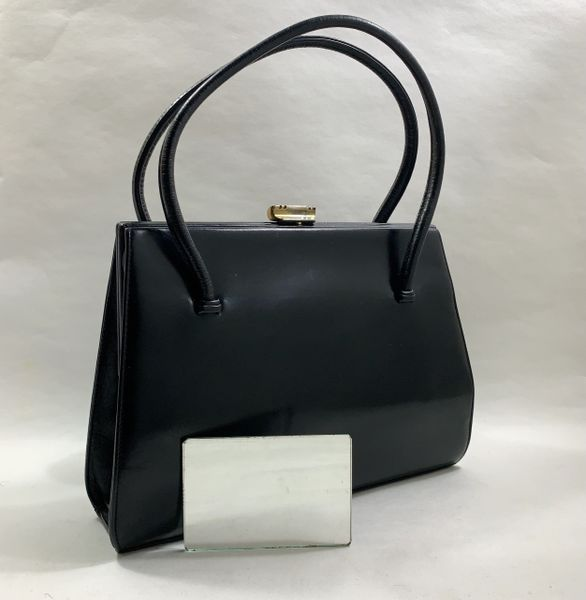 Waldybag Vintage 1950s Black Calf Leather Handbag With Olive Fabric Lining And Vanity Mirror