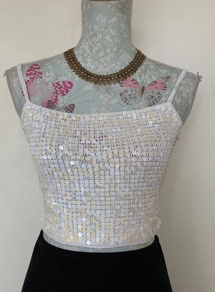 SEEU 1990s Vintage White Crocheted Sequin Spaghetti Strap Unlined Crop Top Size UK 10.