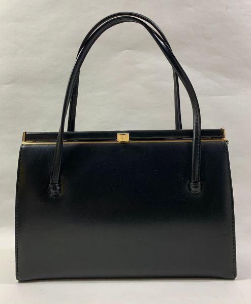 Debenhams Vintage 1960s Black Faux Leather Handbag With Fabric Lining And Elbief Frame