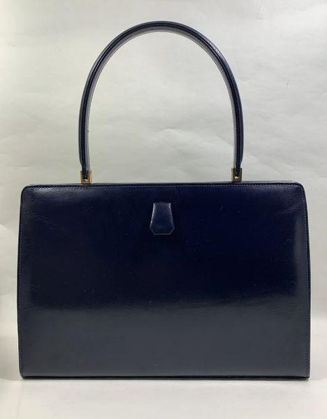 Rayne Blue Leather 1960s Vintage Handbag With Blue Satin Lining & Vanity Mirror